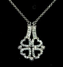 925 Sterling Silver CZ 4 Heart Pendant Chain Necklace