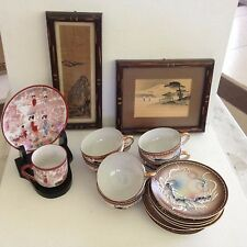 Japanese tea set lot lithopane dragon geisha Ink drawings cup & saucer