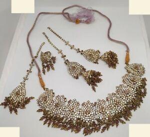 Wedding Asian Bride Necklace Earrings ring Set Jewelry Uk seller