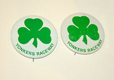 Set of 2 Pin Button Yonkers Raceway Shamrock Clover Horse Racing Good Luck 70s