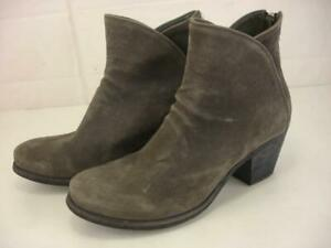 $670 Women's 6 36 Officine Creative Gray Suede Leather Ankle Boots Back Zipper