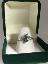 Ruby, Emerald & Diamond Dress Ring in 18K White Gold + Free Postage + Re-sizing!