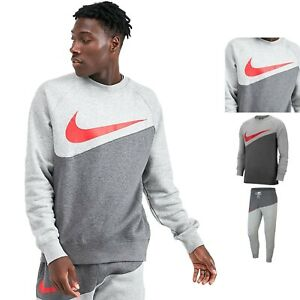 Men's Nike Sportswear Swoosh Crew Neck Tracksuit Set Sweatshirt Pants Grey Red
