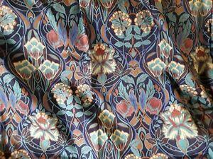 """Art Nouveau print curtains Boucheron Crowson fabric cotton 48 x 51"""" floral vgc"""