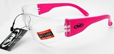 1 Pair  Pro Rider Safety Glasses Clear Lens Hot Pink Temple Z87.1 Global Vision