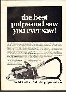 1968 VINTAGE MAGAZINE AD #01023 - MCCULLOCH 660 CHAIN SAW