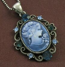 Antique Vintage ST Blue Crystals Cameo Necklace Pendant