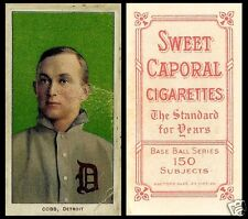 LOT of 25 REPRINT 1909 T206 TY COBB Green Portrait SWEET CAPORAL back