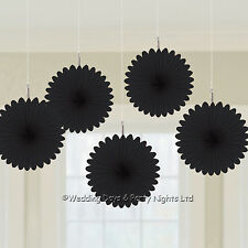5 Black 15cm Paper Fan Hanging Decorations Wedding Birthday Hollywood Party Prom
