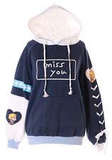 TS-164 Blau Weiß Mix Miss You Pullover Kapuzen-Sweatshirt Harajuku Kawaii