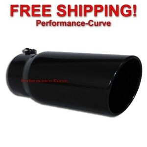 """Black Diesel Stainless Steel Bolt On Exhaust Tip 5"""" Inlet - 6"""" Outlet - 15"""" Long"""