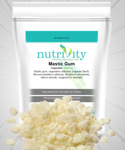 Mastic Gum 1000mg Veg Capsules Supplement Heartburn Oral Hygiene Nutrivity UK