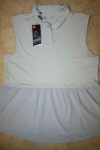 UNDER ARMOUR Women's HeatGear Sleeveless Golf Polo Shirt NWT Light Blue SIZE: XL