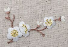 Iron On Patch Embroidered Applique WHITE Flowers Cherry Blossom Brown Stem RIGHT