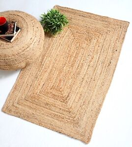 DHAKA Braided Area Rug Hand Woven with Natural Indian Jute Small Medium Large