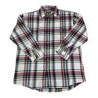 Roper Mens Size 2XLT Tall White Red Blue plaid  Long Sleeve Western Shirt
