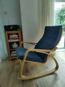 IKEA Poang Rocking Chair With Navy Cushion
