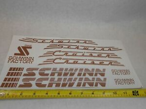 Schwinn Cruiser Bike Bicycle Decals 9 Stickers Brown  / Clear 80's