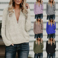 Women Wrap V Neck Long Sleeve Pullover Ladies Knitted Sweater Jumper Tops Blouse