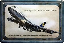 Boeing 747 Jumbo Jet 1969 Lufthansa Flugzeug Reklame 20x30 cm Blechschild 313