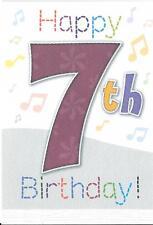 BOYS 7th BIRTHDAY CARD - AGE 7 - MUSICAL NOTES
