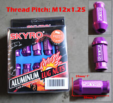 20 Pcs Purple Aluminum Tuner Lug Nut Nuts Kit Set M12x1.25 25mm Dia 50mm Long