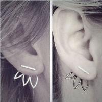 Fashion Women Lady Silver Cutout Lotus Flower Stud Earrings Ear Jewelry Gift