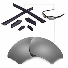 New WL Polarized Titanium Lenses And Black Rubber Kit For Oakley Half Jacket XLJ