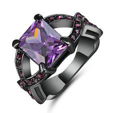 Size 6 Purple Amethyst Cross Ring Womens 10KT Black Gold Filled Wedding Jewelry