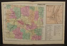 New York  Ontario County Map Phelps Township 1874 Dbl Pg  W15#12
