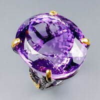 Vintage70ct+ Natural Amethyst 925 Sterling Silver Ring Size 9/R121675