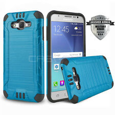 BLUE BRUSHED ARMOR SHOCKPROOF HARD COVER PHONE CASE FOR SAMSUNG GALAXY J7 (2016)