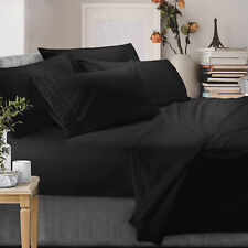 🥇100% Microfiber Luxury Pleated Bedding Sheets Set 6 - Piece | Queen Size,Black