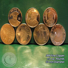 7 Different Designs of 1/2 oz .999 Copper Rounds READ for Designs