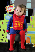Who Put My Cape Back-to-front Funny Baby Bib, Red/Pink/Blue, Baby/Toddler size