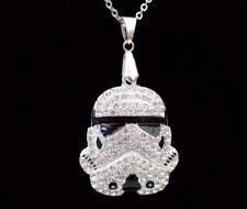 STAR Wars Storm Trooper Iced Out Bling Collana Pendente Su Catena in Argento 24""