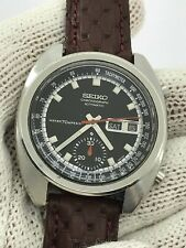 SEIKO 6139-6012 CHRONOGRAPH AUTOMATIC DAY DATE MENS 39.5mm SERVICE JUST MADE