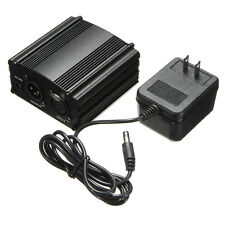 1 CH DC 48V Phantom Power Supply + AC Adapter For Condenser Microphone MIC