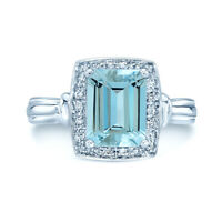 14k White Gold Emerald Cut Aquamarine Diamond Halo Cocktail Ring Natural Womens