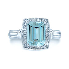 14k White Gold Emerald Cut Aquamarine Diamond Halo Cocktail Ring Natural Womens