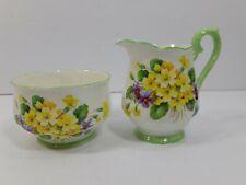 Royal Albert Primulette Vintage Floral Cream and Sugar Green Trim