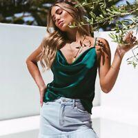 Women Casual Silk Satin Camisole Plain Strappy Vest Top Sleeveless Blouse Tank