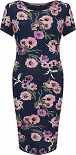 Plus Womens Midi Dress Ladies Floral Print Short Sleeve Round Neck Stretch 14-28