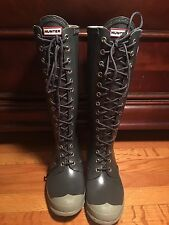 Hunter rain boots Lace Up Watling Size 8 Grey