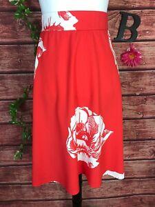 K. Jordon Skirt Plus size 2X Orange Floral Tropical Knee A Line Modest Stretch