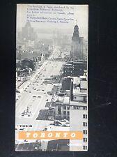 Rare ancien dépliant Brochure Toronto Canada