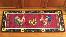 French Country Rooster Sunflower Kitchen Cushioned Floor Runner Rug Door Mat
