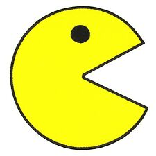 PAC Man Yellow Smiley Emoji Embroidered Patch Iron On Lovey Applique Video Game