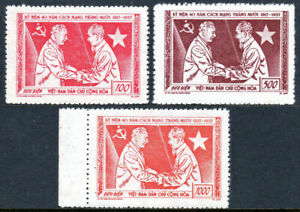 Viet Nam SC 61-63, MNH. Russian Revolution,40th ann. Voroshilov,Ho Chi Minh,1957