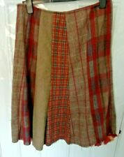 ❤ PER UNA Size 14 R Brown Terracotta Blue Tweed Check Skirt Lace Lined Hem